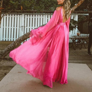 Solid Color Deep V Neck Long Sleeve Beach Maxi Dress