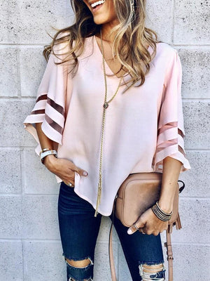 Solid Color V Neck Splice Loose T Shirt Tops