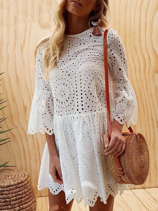 Summer Lace Splice Solid Color Mini Dress