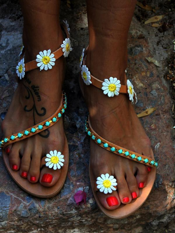 Summer Beach Flower Flat Sandals For Women