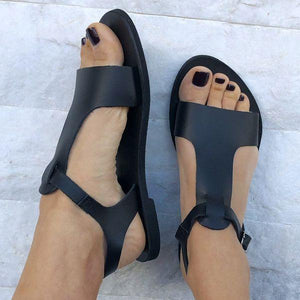 Casual Buckle Slingbacks Solid Color Summer Flat Sandals Shoes