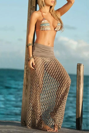 Bohemian Sexy Pure Color Hollow Beach Mesh Vacation Skirt