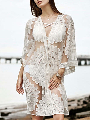White Hollow Lace Cover-Ups