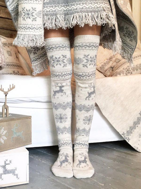 Christmas Snowflake Elk Tribal Pattern Over Knee-high Stocking - Voguetide