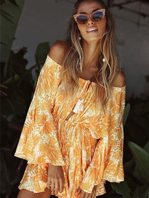 Stylish bohemia floral print jumpsuits shoulder-off sexy beach short romper