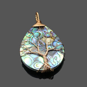 Handmade Natural Abalone Shell Stone Pendant Necklace - Voguetide