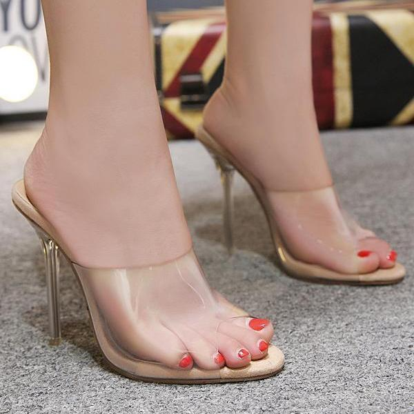 Sexy Clear Mules Peep Toe High Heels Sandals
