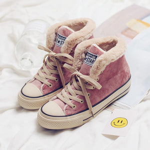 Winter Solid Color Fleece Lined Lace-up Suede Shoes