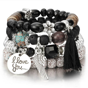 Bead And Coin Bangles Set