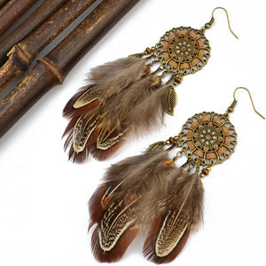 Bohemia Feather Tassels Earrings Accessories - Voguetide