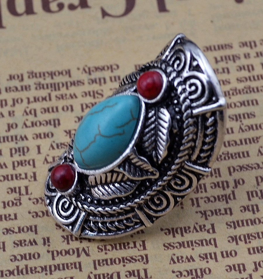 Vintage Bohemia Tibetan Ethnic Siver Engraving Leaf Adjustable Ring Jewelry