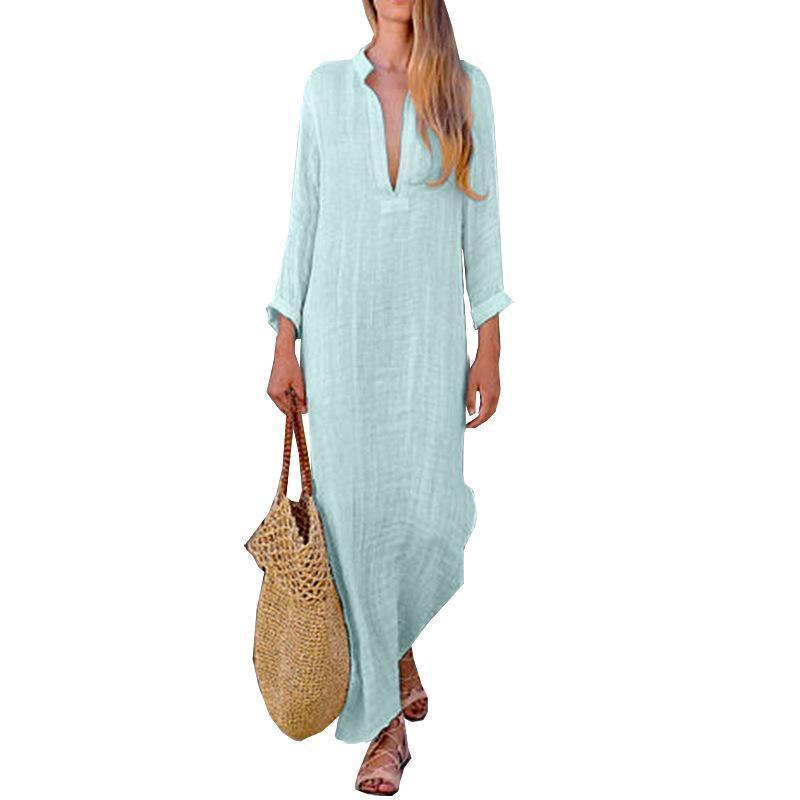 Solid Color V Neck Long Sleeve Casual Maxi Dress