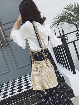 Khaki Fashion Knit Single Shoulder Bag - Voguetide