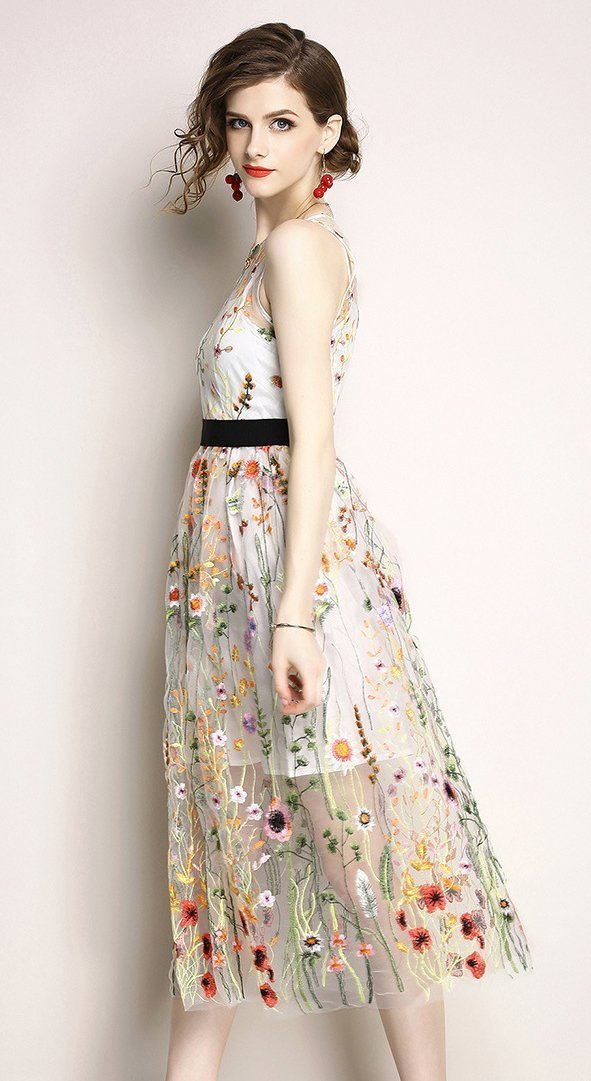 Sleeveless Embroidered Beach Dress