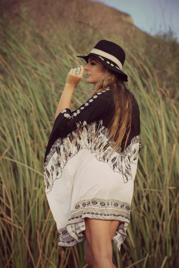 Stylish Bohemian printed long-sleeved scarf - 2