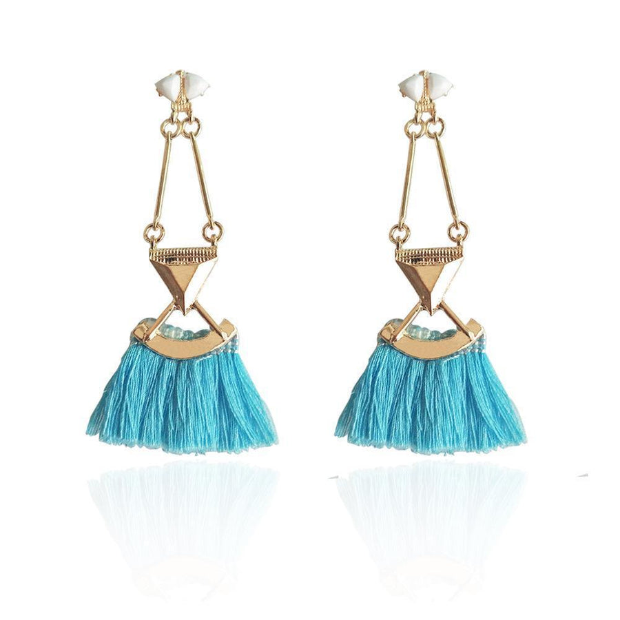 Boho rosy blue rope statement tassel earrings fashion jewelry long ethnic women accessories party Xmas - Voguetide