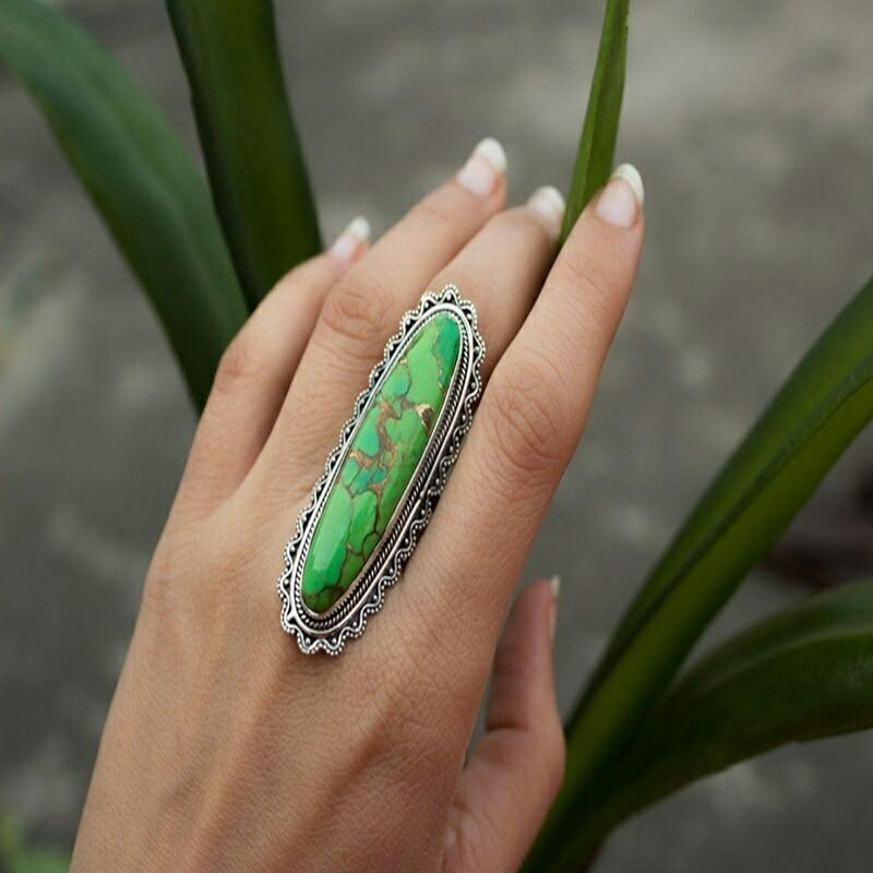Boho Natural Gemstone Green Turquoise Personalized Ring