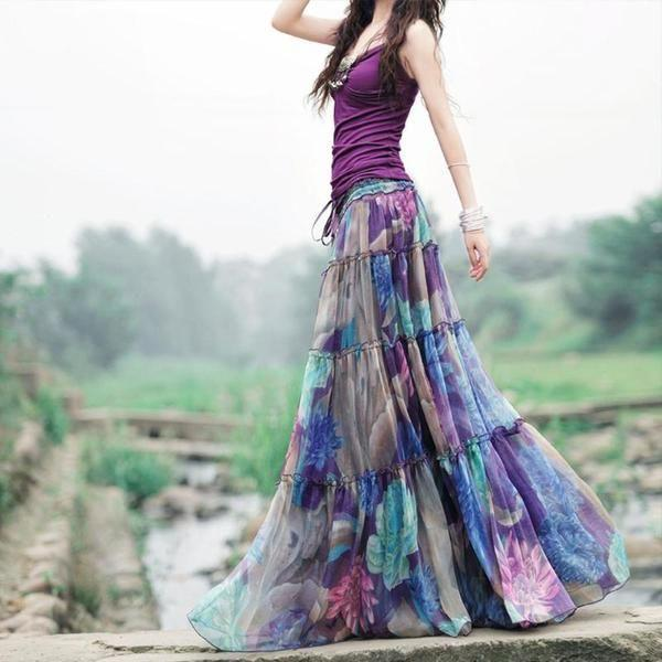 Bohemian Floral Printed Mid-Calf Pleated Chiffon Skirt