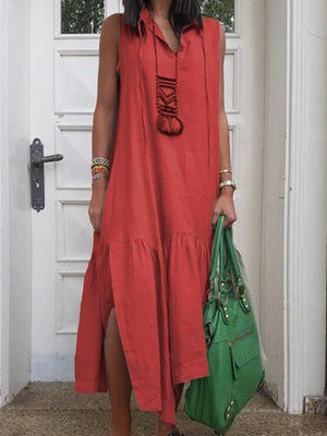Split Sleeveless Solid Color Pullover Maxi Dress