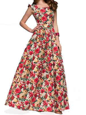 Vintage Flower Sleeveless Swing Maxi Dress