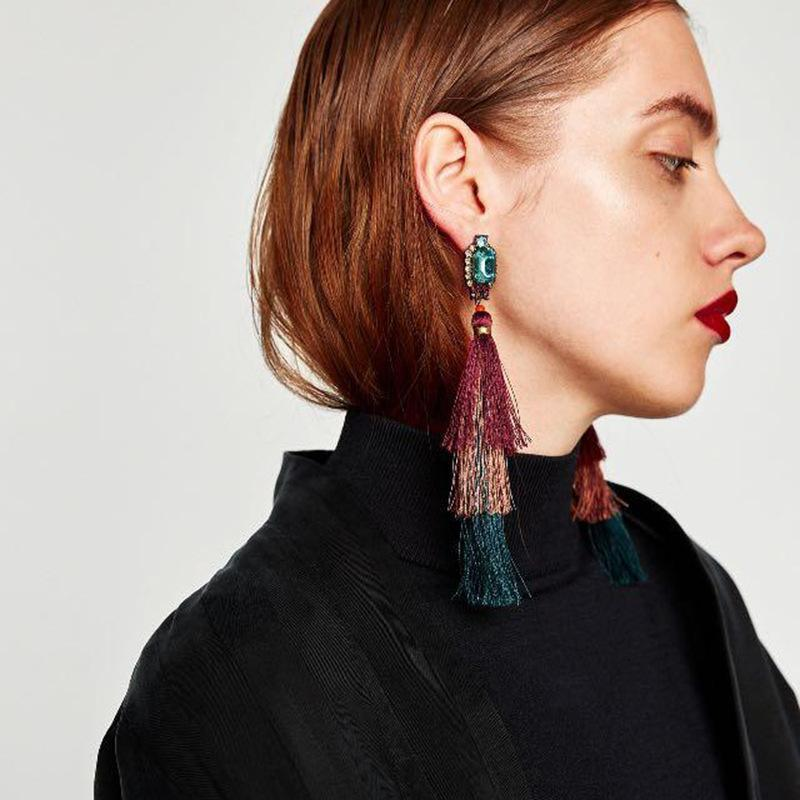 Fashion New drop earring handmade long tassel pendant ethnic fringed earrings vintage for bohemia Xmas party - Voguetide
