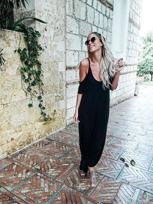 Solid Color Side Split Loose Maxi Dress