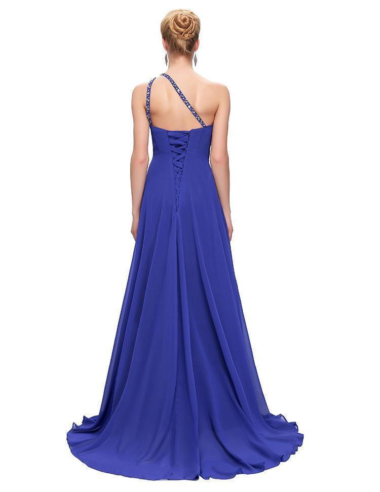 Sleeveless One Shoulder Evening Maxi Dress