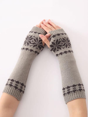 Bohemia Oversleeves Knitted Arm Warm Winter Fingerless Sleevelet Mittens - Voguetide