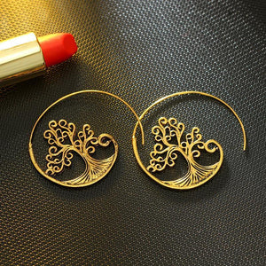 Golden Alloy Tree Of Life Crystal Earrings Jewelry - Voguetide