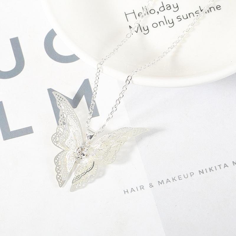 Silver Plated Openwork Butterfly Diamondd Wings Necklace