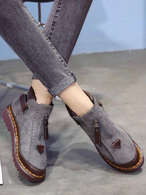 Casual Martin Zipper Flats Short Boots Shoes