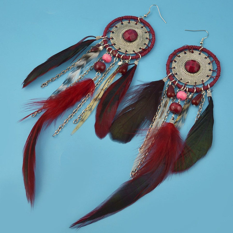 5 Colors Bohemia Feather Dream Catcher Tassels Earrings Accessories - Voguetide
