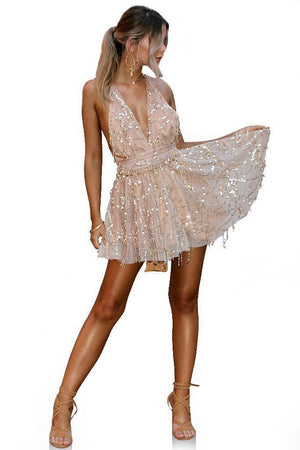 Sexy Sequin Deep V Neck Backless Party Mini Dress