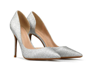 Women Sequins Pointed Stiletto Side Air Sexy Shallow Mouth High Heel Shoes