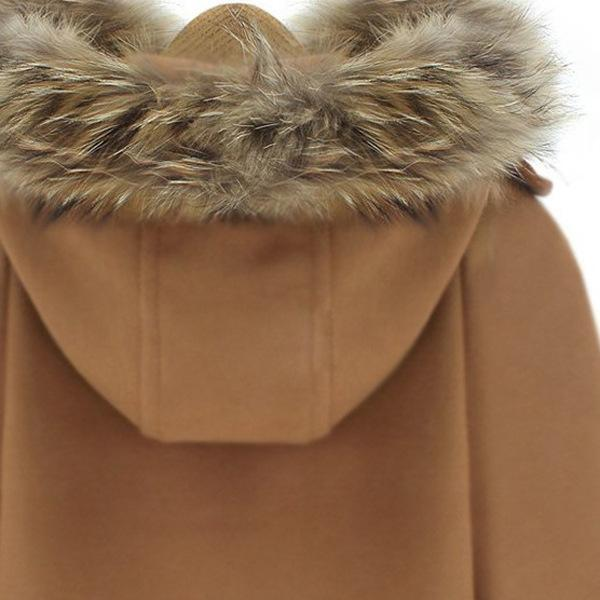 Warm Solid Color Batwing Sleeve Fur Hooded Cape
