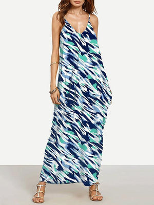 Unique Bohemia Spaghetti Straps V Neck Maxi Dress