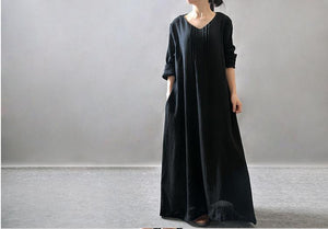 Vintage Linen Round Neck Long Sleeve Loose Casual Maxi Dress