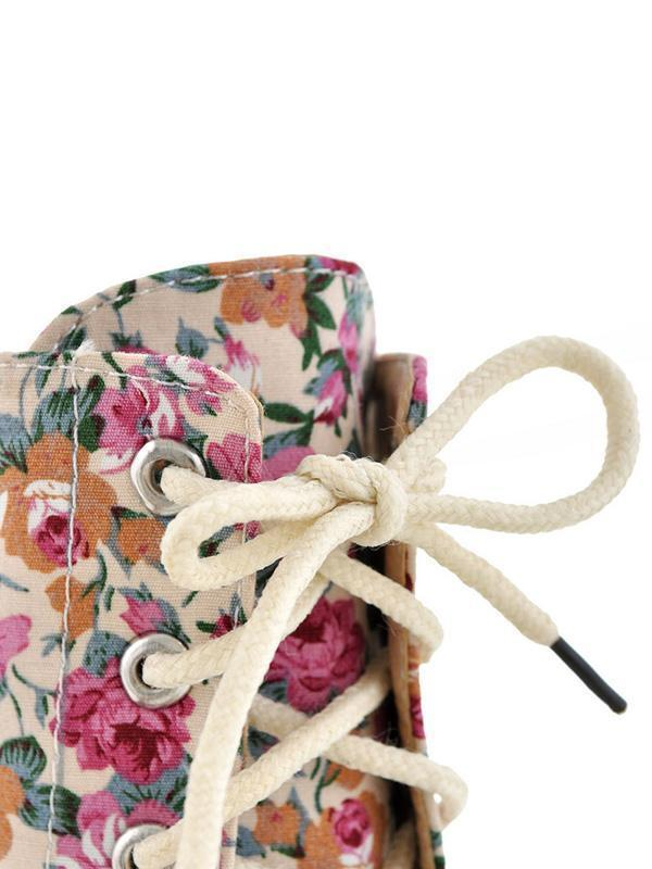 Women Floral Martin Low-heel Boots Shoes