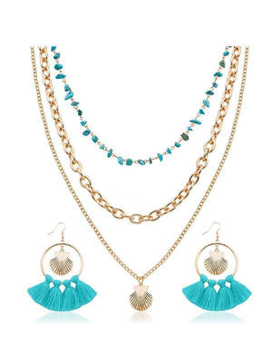 Boho Shell Tassel Earring And Necklace Accessories