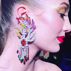 Exaggerated Bohemian Style Alloy Tassel Inlaid Glass Drill Drop Earrings