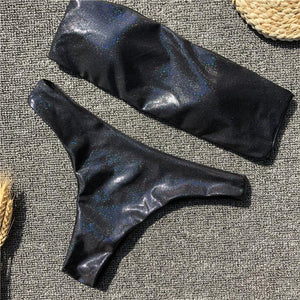 Black Grey Sequins Leather Sexy Swimsuit Bikini