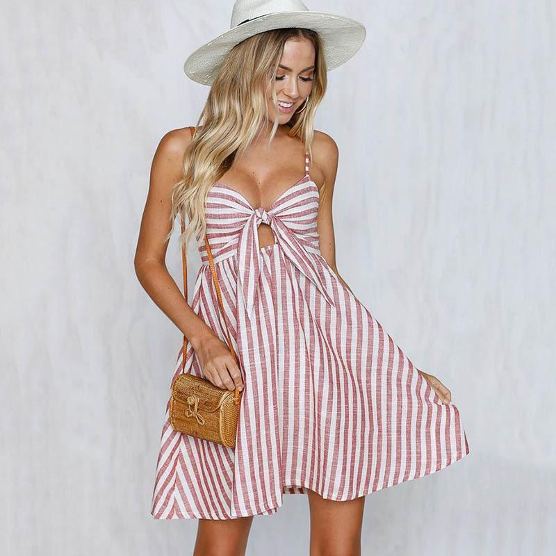 Sexy Stripe Spafhetti Strap High Waist Casual Mini Dress