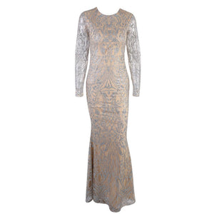 Sexy Round Neck Long Sleeve Shiny Evening Dress