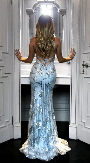 Sexy V Neck Sequin Spaghetti Strap Backless Bandage Evening Maxi Dress