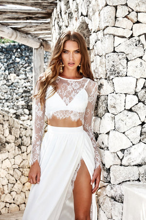 Sexy Beach Lace Hollow Tops And Side Split Skirt Bottoms