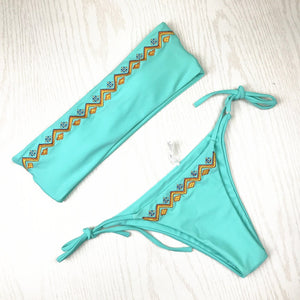 Sexy Tube Top Bikini Women Swimsuit Two-Piece