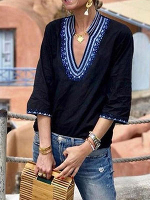 Loose Ethnic Style Short Sleeves V-neck Floral T-Shirts Tops