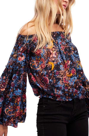 Spring Off-The-Shoulder Trumpet Sleeves Printed Tops