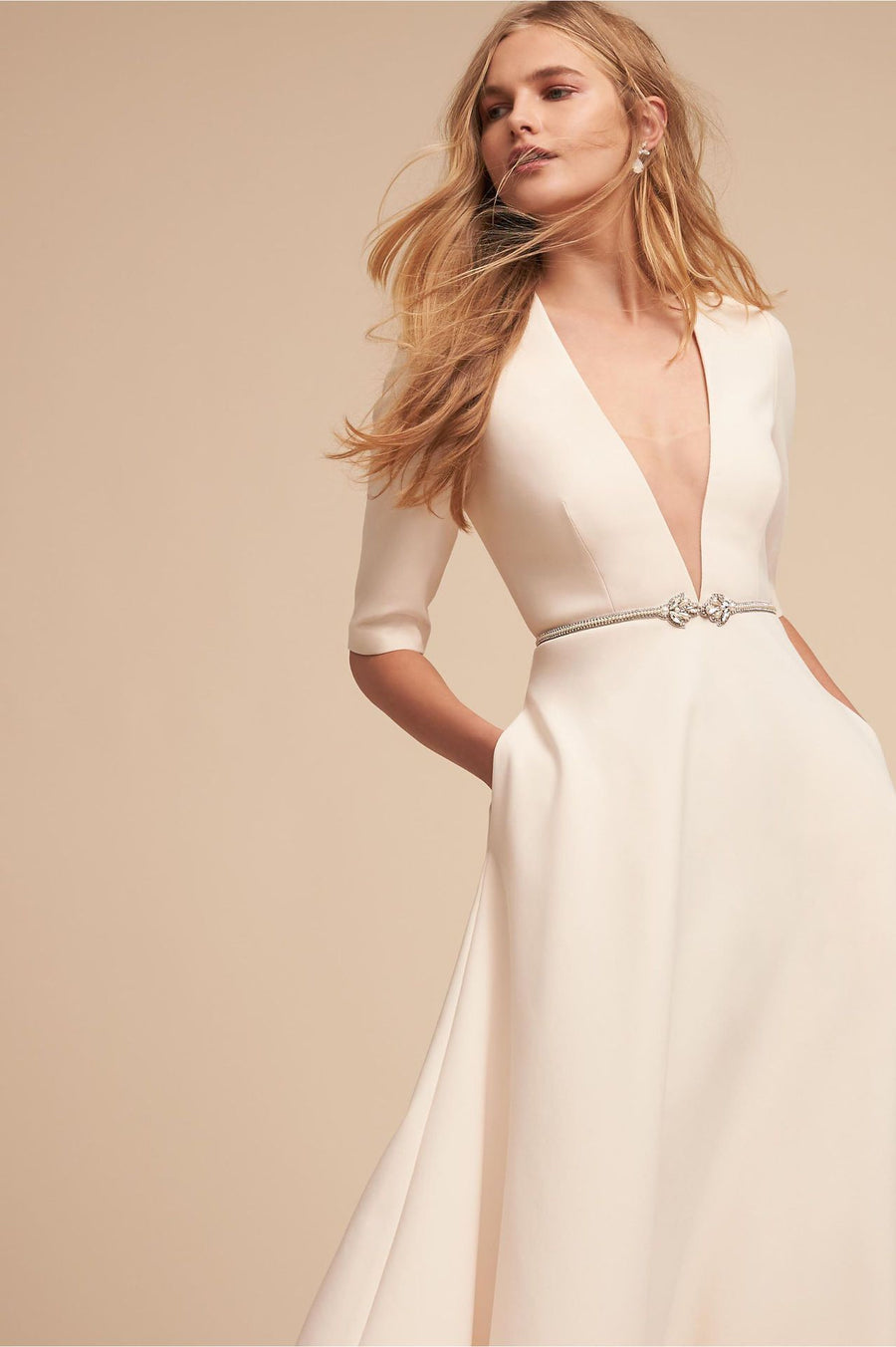 V Neck Half Sleeve Pockets Evening Party Dress