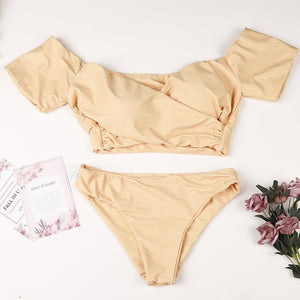 Off-The-Shoulder Bikini Cross Bandage Swimsuit Sexy Split Swimsuit